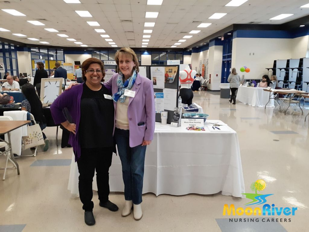 Our Program Director and Lead Instructor, Betsy Palewicz RN and Leesburg Mayor Kelly Burk at the Tuscarora High School (Virginia) Career Expo.
